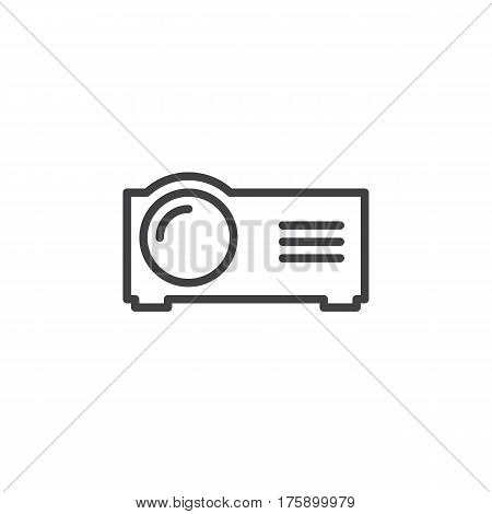 Presentation digital projector line icon outline vector sign linear style pictogram isolated on white. Symbol logo illustration. Editable stroke. Pixel perfect