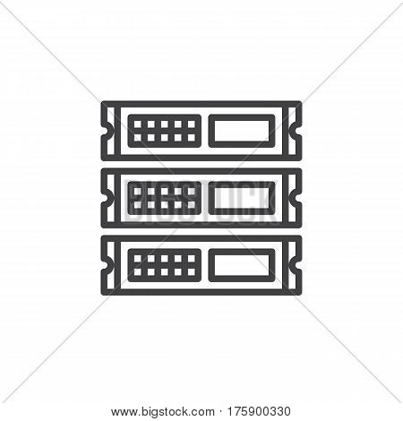 Rack units servers line icon outline vector sign linear style pictogram isolated on white. Symbol logo illustration. Editable stroke. Pixel perfect