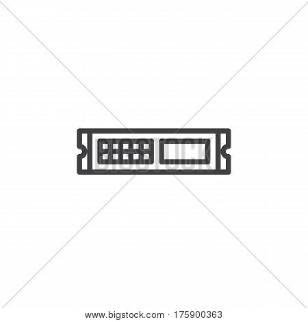 Rack unit server line icon outline vector sign linear style pictogram isolated on white. Symbol logo illustration. Editable stroke. Pixel perfect