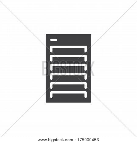 Server icon vector filled flat sign solid pictogram isolated on white. Symbol logo illustration. Pixel perfect