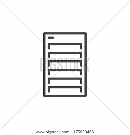 Server line icon outline vector sign linear style pictogram isolated on white. Symbol logo illustration. Editable stroke. Pixel perfect