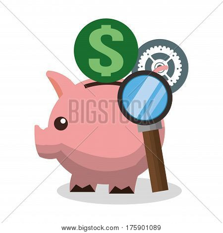 piggy bank and money or economy related icons image vector illustration design