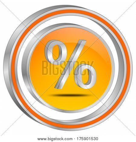 silver orange Discount button - 3D illustration