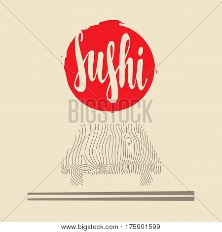 Vector banner with inscription Sushi wooden tray and chopsticks. Hieroglyph Sushi