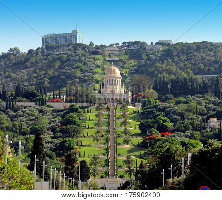 The beautiful Baha'i Gardens in Haifa, Israel with the Shrine of the Bab in the centre.
