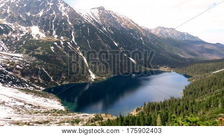 The resplendent Morskie Oko in Poland taken from Czarny Staw after a rather dangerous climb into the Tatra Mountains.