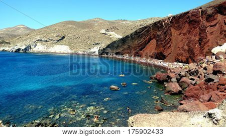 The Red Beach in the south of the volcanic island of Santorini, Greece.