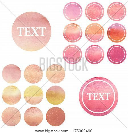 Set of round watercolor labels of different shades