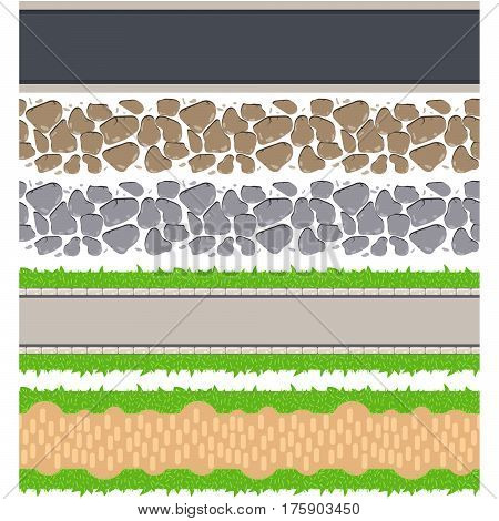 Seamless border roads and track. Vector tileable pathway. Stone pebble, grass, asphalt and ground walkway set.