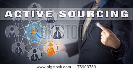 Human resources manager in blue suit using ACTIVE SOURCING to attract promising talent. Business metaphor and recruitment strategy concept for a proactive approach to finding potential candidates.