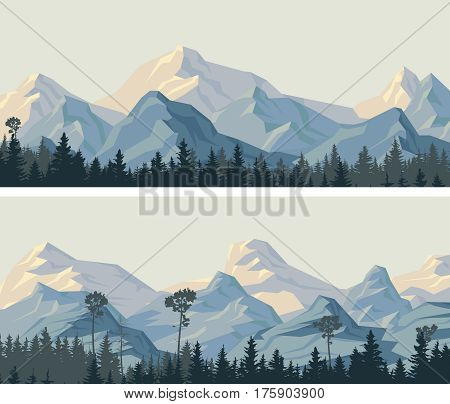 Set of horizontal wide banners rocky snowy mountains and coniferous forest.