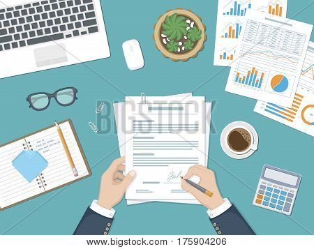Businessman signing a document. Man hands with pen and contract. The process of business financial agreement. Document with a signature. Desk with forms, charts, laptop, calculator, glasses and coffee