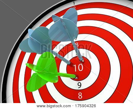 3d darts hitting the bullseye aim. concept of success