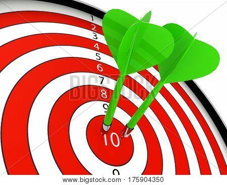 Two darts hitting the bullseye aim. concept of success 3d