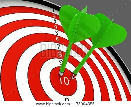 darts hitting the bullseye aim. concept of success