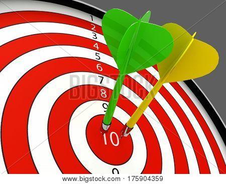 3d darts hitting the bullseye aim. concept of success