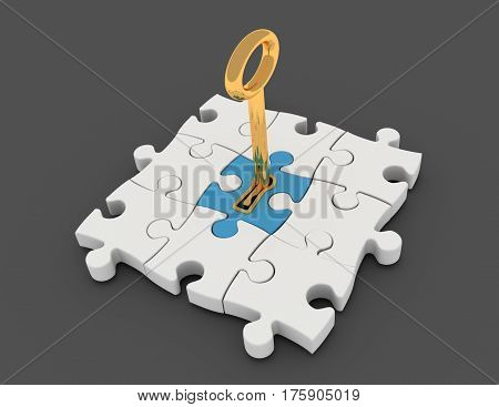 Jigsaw puzzle piece with key in keyhole.