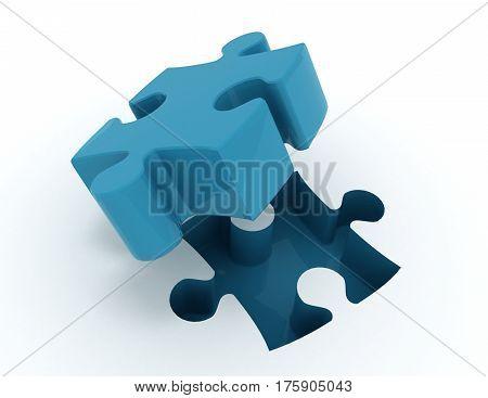 jigsaw puzzle. 3d busines illustration concept. rendered