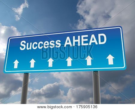 3d road sign concept. success ahead. rendered illustration