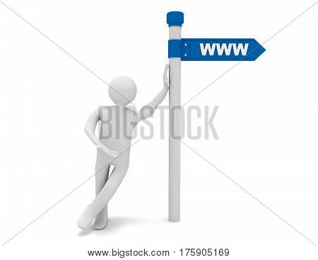 3d man and roadsign with word www