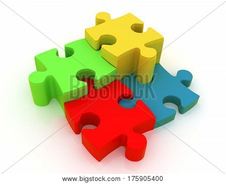 jigsaw puzzle. 3d busines rendered illustration concept