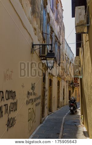 Rethymno, Greece - August  2, 2016:  Narrow Venetian Street In Old Town.