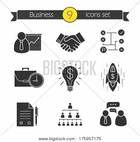 Business concepts icons set. Silhouette symbols. Teamwork, company hierarchy, signed contract, handshake, problem solutions, successful idea, goal achievement. Vector isolated illustration