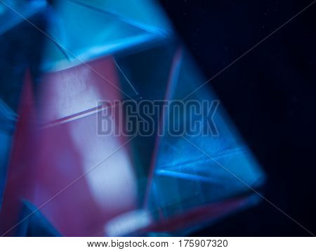 Abstract blurred background with geometric line, photo glass pyramid with soft focus with reflection and refraction