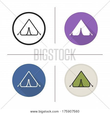 Tent icon. Camping spot. Flat design, linear and color styles. Isolated vector illustrations