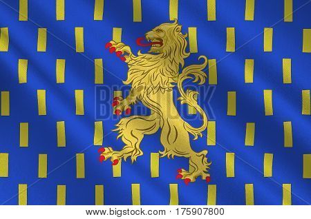 Flag of Auxerre is the capital of the Yonne department and the fourth-largest city in Burgundy. 3D illustration