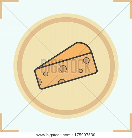 Cheese slice color icon. Hard porous cheddar cheese. Isolated vector illustration
