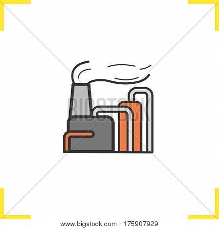 Factory color icon. Industrial complex. Manufacturing plant. Isolated vector illustration