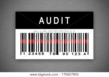 Audit barcode label with shadow on metal background