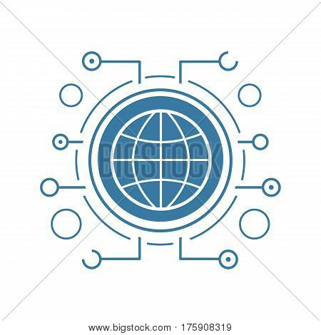 Global network flat linear long shadow icon. Globe in microchip pathways. Vector line symbol