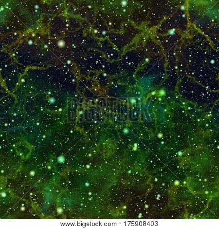 Abstract green glittering universe, Nebula night starry sky, Shiny outer space, Galactic texture background, Seamless illustration