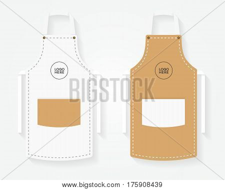 Set of apron template different color on white background for your branding project. Vector Illustration