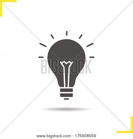 Light bulb icon. Drop shadow silhouette symbol. Good idea. Negative space. Vector isolated illustration