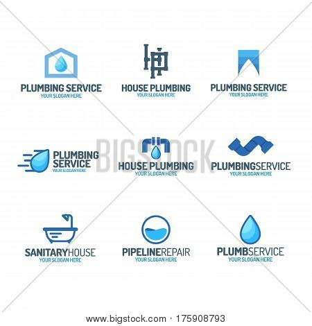 Plumbing service logo set color style for used plumbing and heating company, sanitary and hygiene firm, fix and repair leak and pipe etc. Vector Illustration