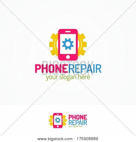 Phone repair logo set with silhouette phone and gear flat color style can use for mobile shop, smartphone store, fix. Perfect for your business design. Vector Illustration