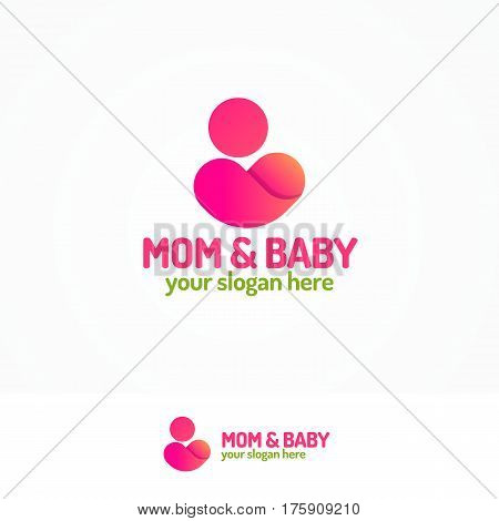 Mom and baby logo set with silhouette mother and child color flat modern style for use medicine center, pregnancy yoga, family company and etc. Vector Illustration