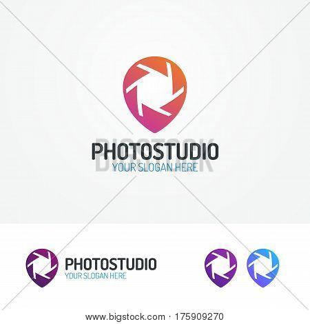 Photostudio logo set with aperture and pin color modern style for use photoschool, photoeducation, photolaboratory, food photo, wedding etc. Vector Illustration