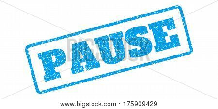Blue rubber seal stamp with Pause text. Glyph tag inside rounded rectangular shape. Grunge design and scratched texture for watermark labels. Inclined emblem on a white background.
