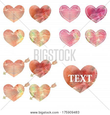 Set of watercolor hearts of different styles
