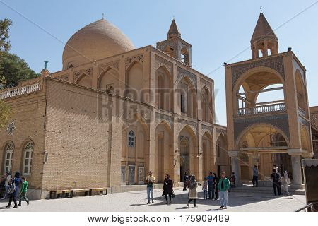 ISFAHAN, IRAN - OCTOBER 13, 2016: People visiting Armenian Vank Cathedral on October 13, 2016 in Isfahan, Iran