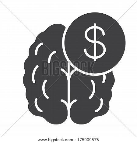 Business mind. Knowledge equal money icon. Silhouette symbol. Human brain with dollar sign. Negative space. Vector isolated illustration