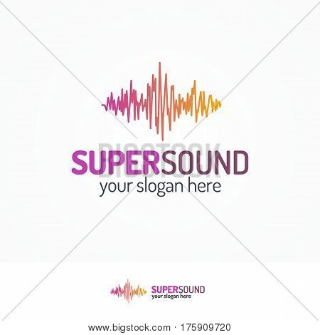 Super sound logo set flat modern color style isolated on white background for use music store, record studio, sound technology etc. Vector Illustration