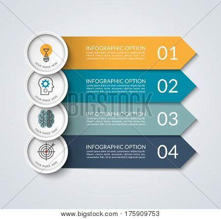 Infographic banner with arrow and circle design elements. Business concept with 4 options, steps, parts. Vector template that can be used as a chart, graph, diagram, workflow layout