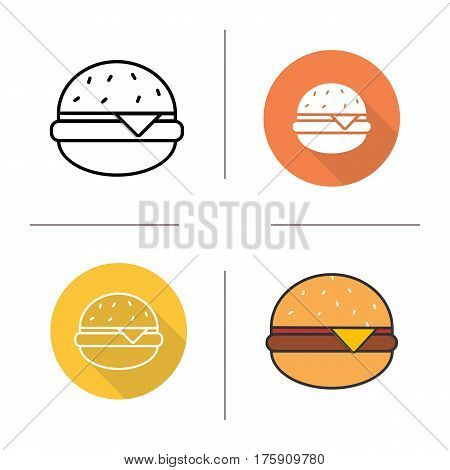 Hamburger icon. Flat design, linear and color styles. Fastfood cheese burger. Isolated vector illustrations