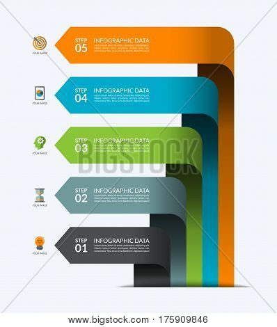 Infographic banner with 5 arrows. Business growth concept. Vector template that can be used for a diagram, chart, graph, numbered options, step by step progress or process visualization