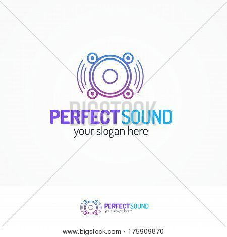 Perfect sound logo set with dynamic icon line modern color style isolated on white background for use music store, sound company, audio system shop etc. Vector Illustration